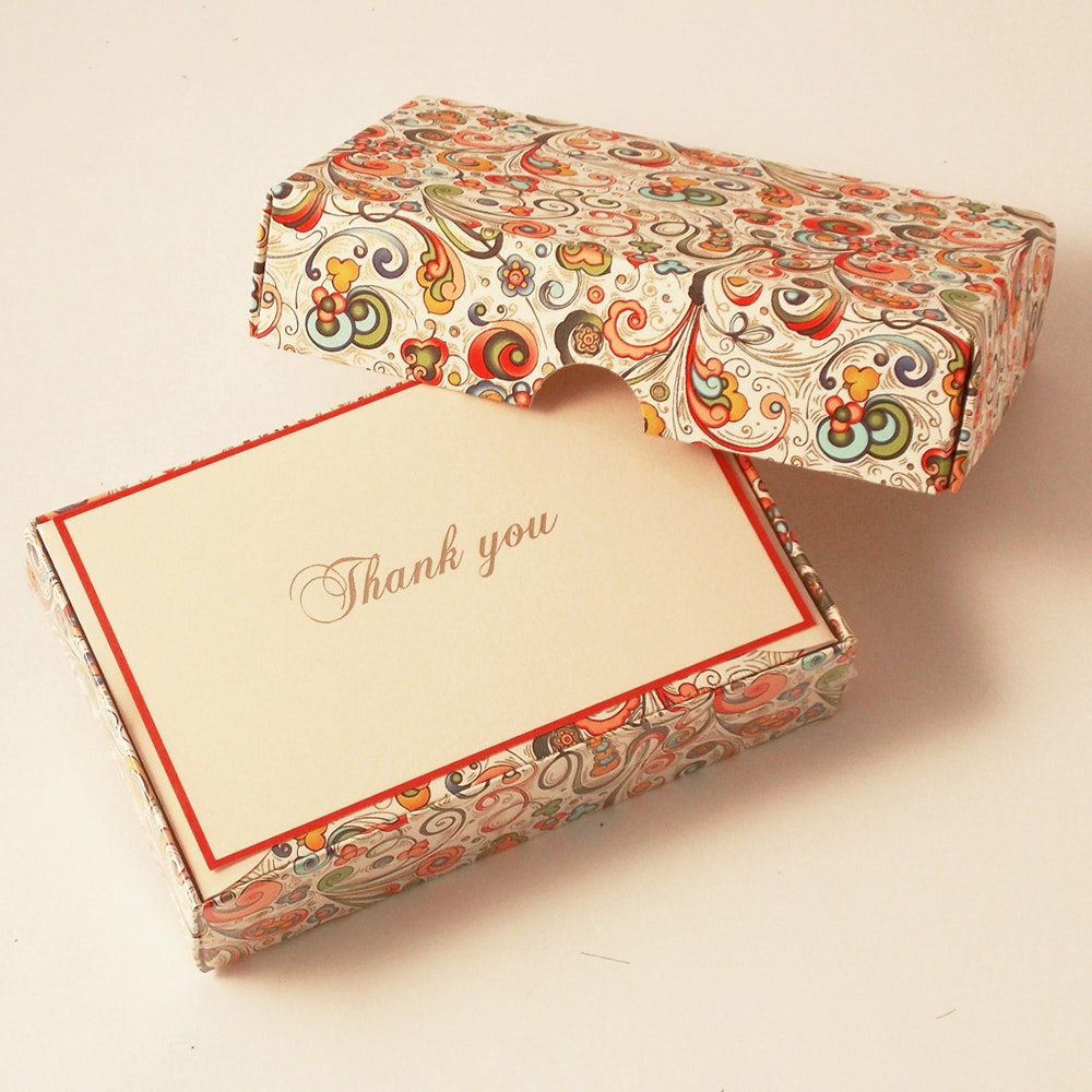 Art-Nouveau Flowers - Thank You Cards