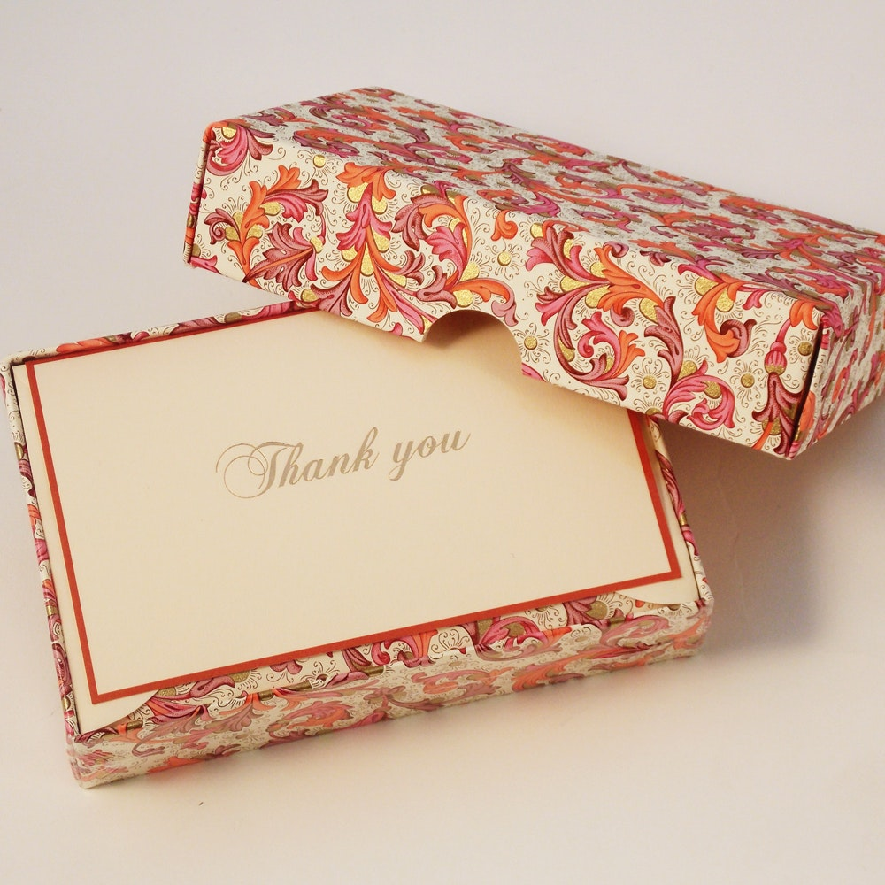 Traditional Red Florentine - Thank You Cards