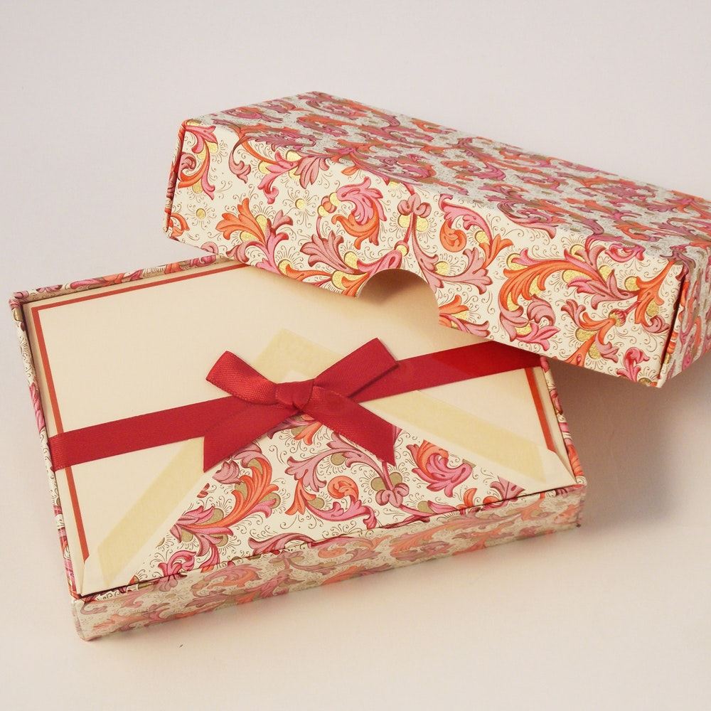 Traditional Red Florentine - Blank Cards