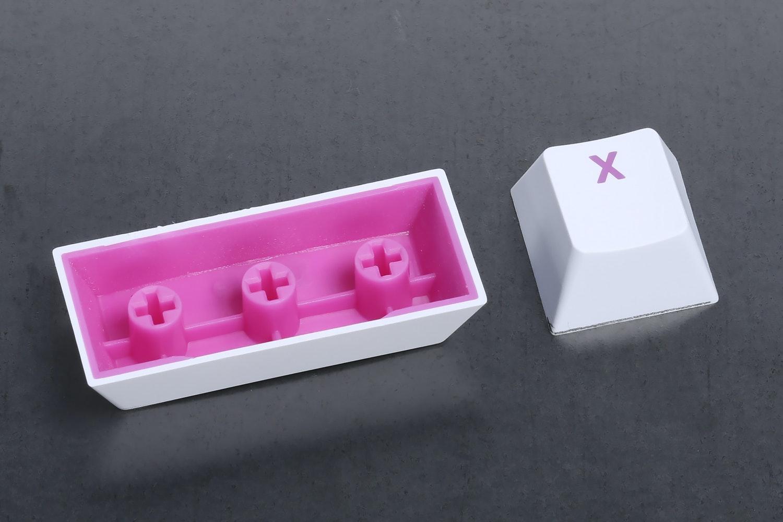 White Keycap / Pink Font