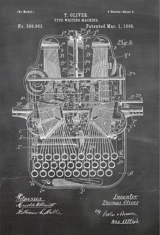 Typewriter Patent Print