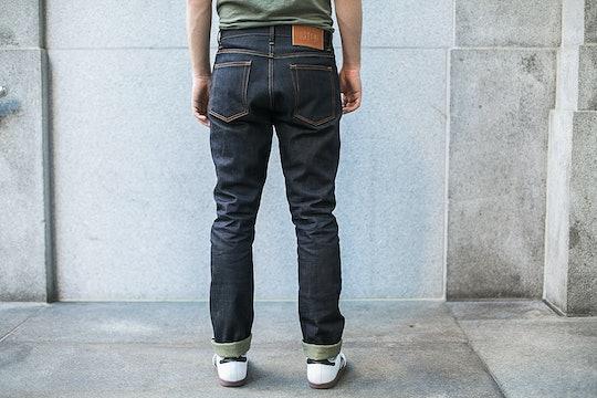 Red Cotton Denim Green Cast Raw Jeans