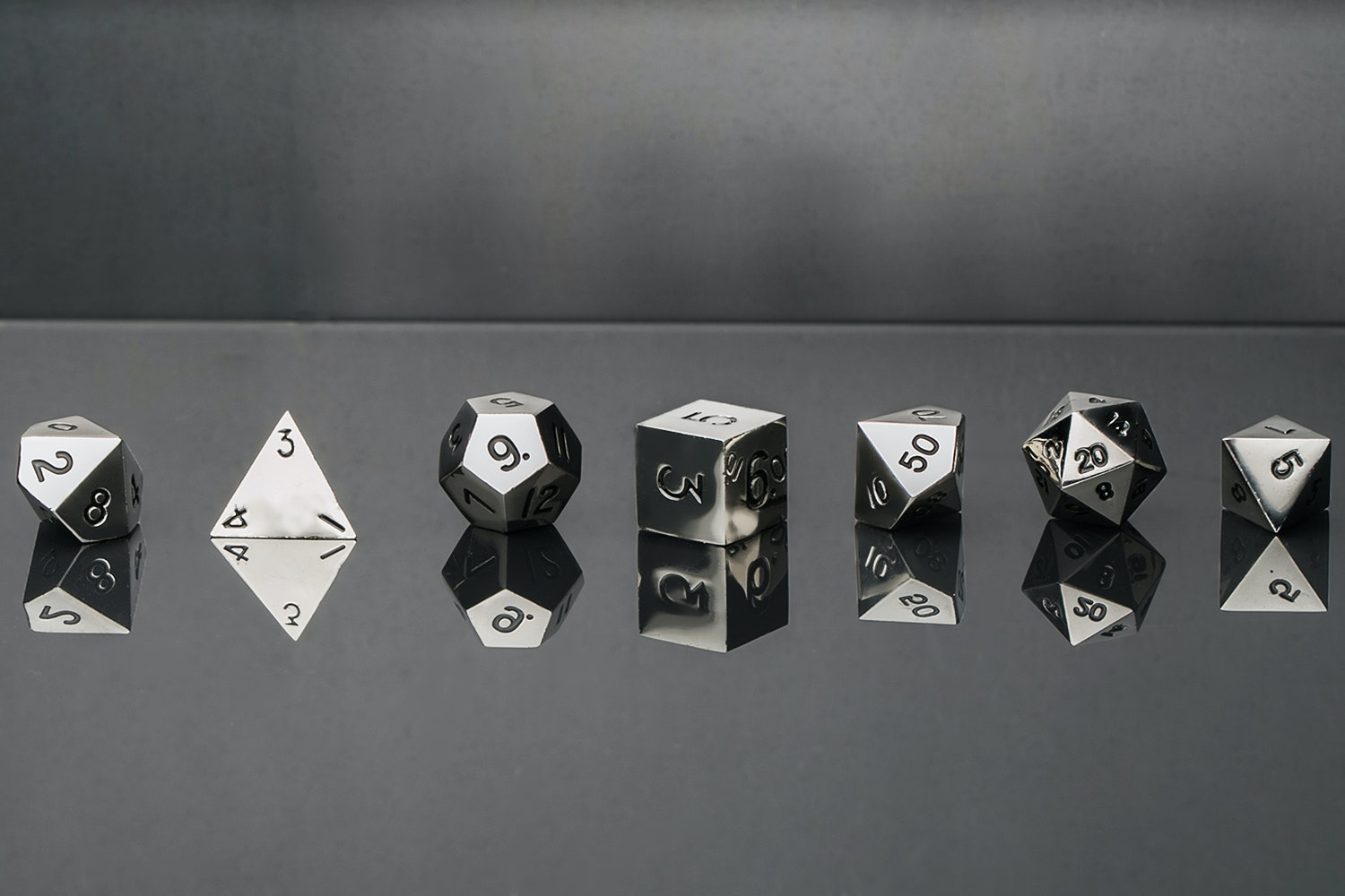 Metallic 16mm Shiny Silver Polyhedral Dice Set