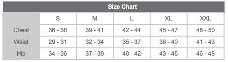 Unisex Size Chart for Rainy Day