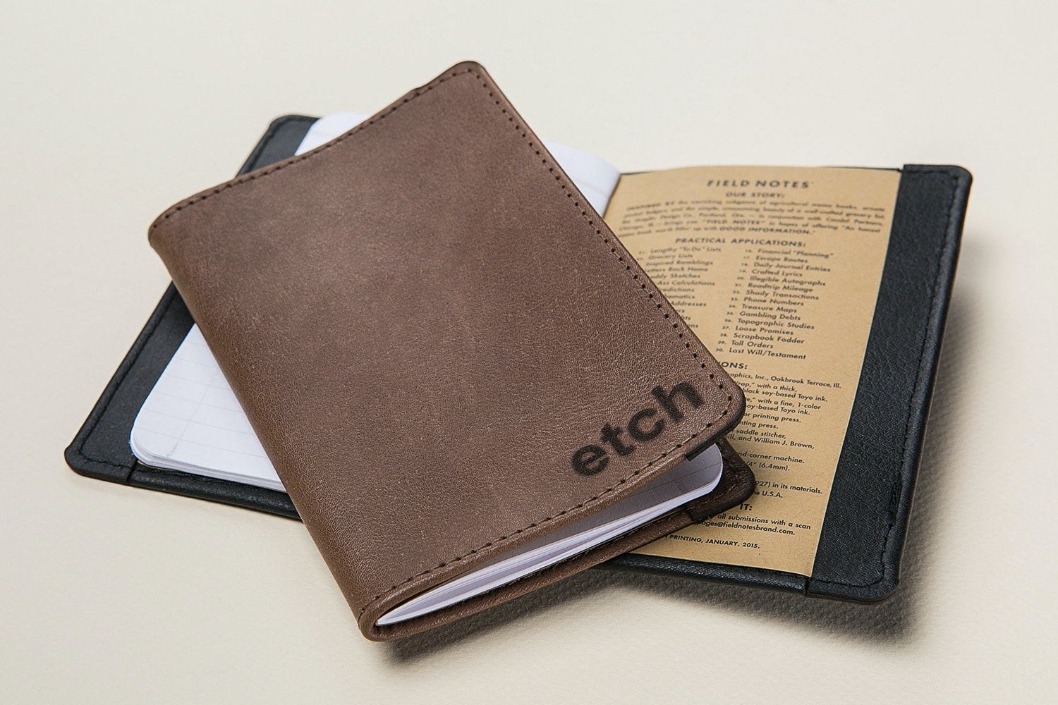 """Allegory """"Etch"""" Kangaroo Leather Journal"""