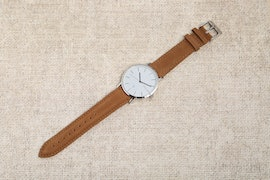 White Dial, Brown Suede
