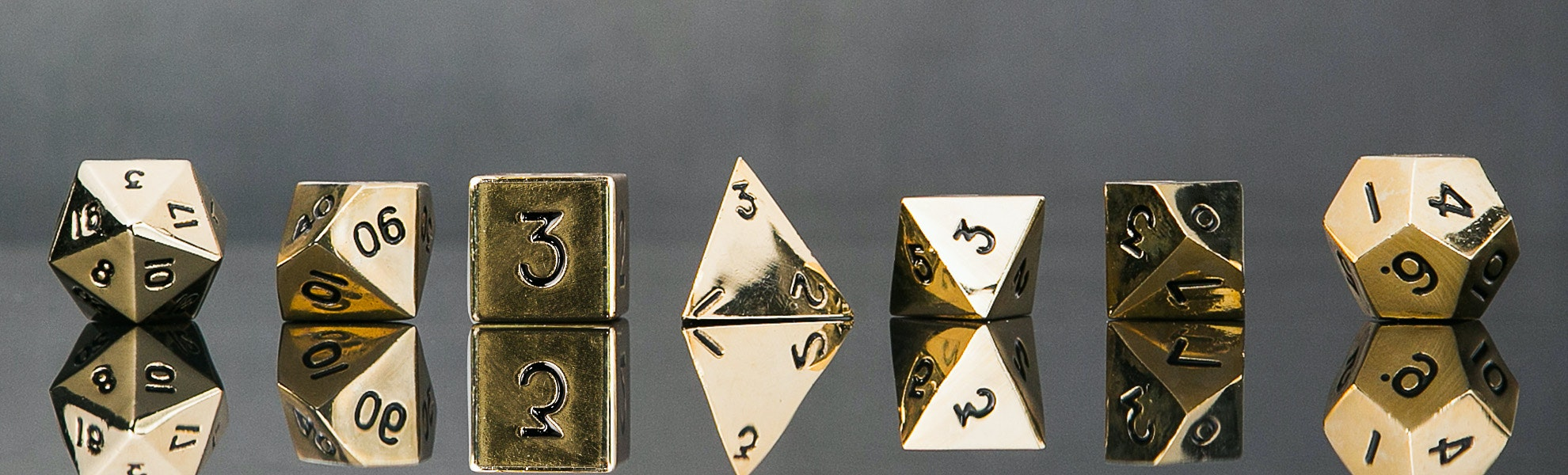 Metallic Gold Polyhedral Dice Set