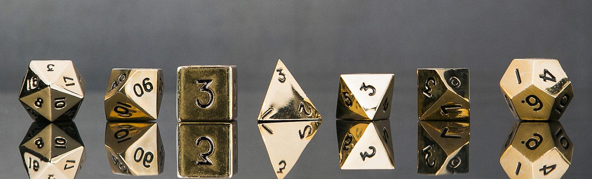 Metallic Gold Polyhedral Dice Set