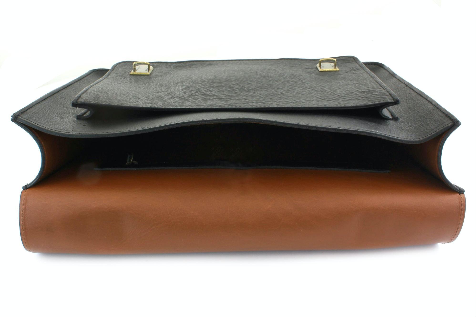 Ebony black with saddle tan lining