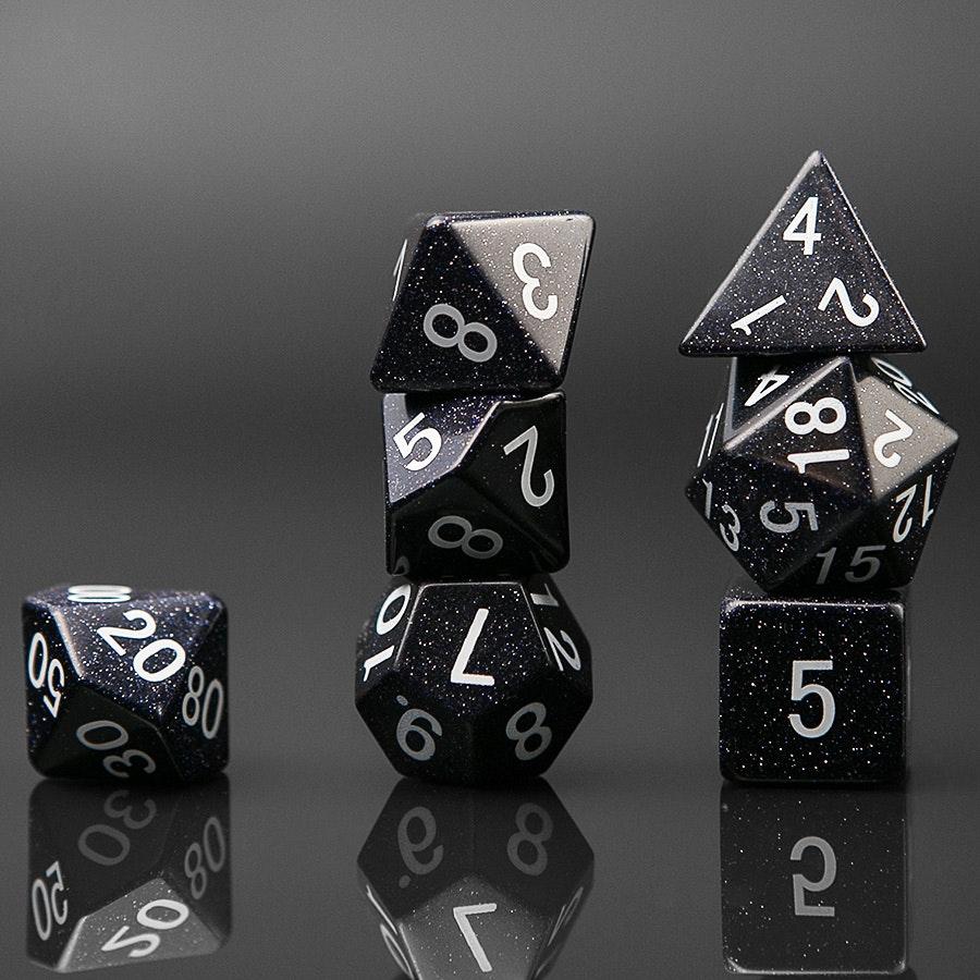 Blue Sandstone Polyhedral Dice Set