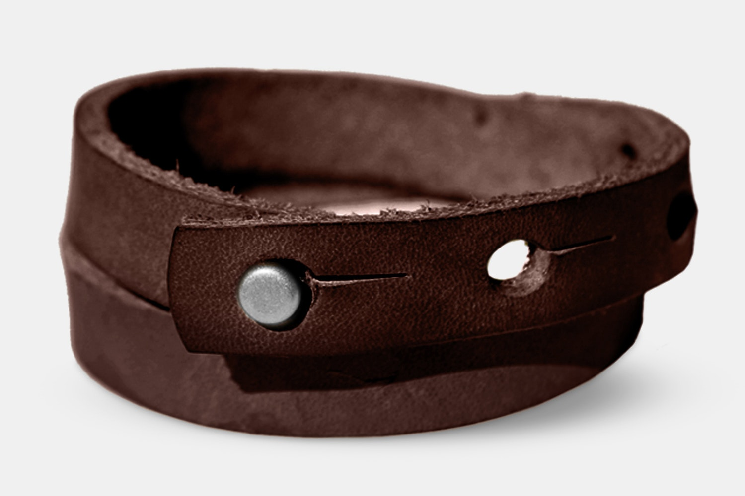 Double Wrap Wristband - Brown/Nickel Plate - OS