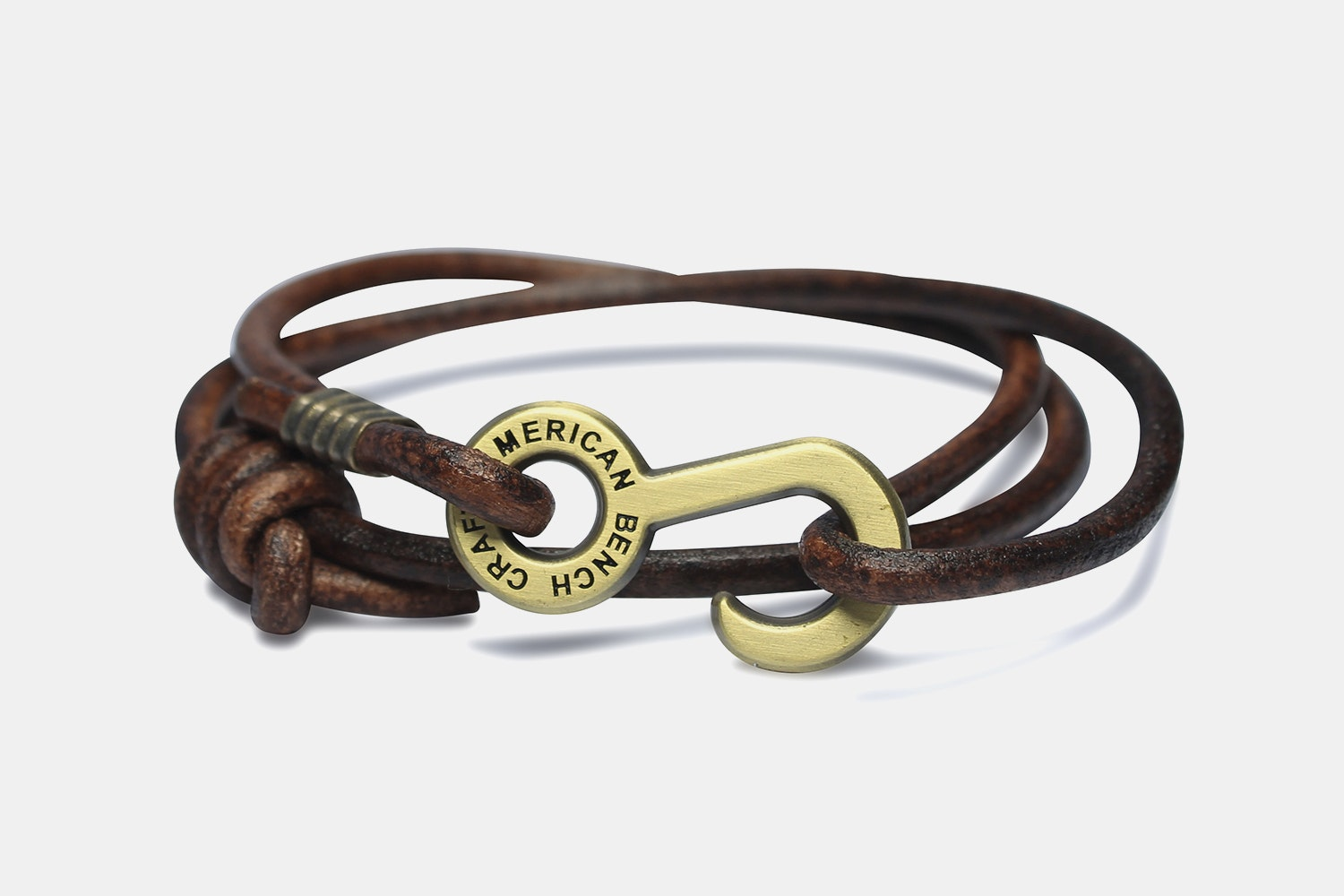 Rum Runner Cord Wrap - Brown with Brass Hardware - OS