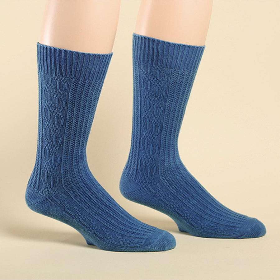 American Trench Indigo Dyed Cable Knit Socks