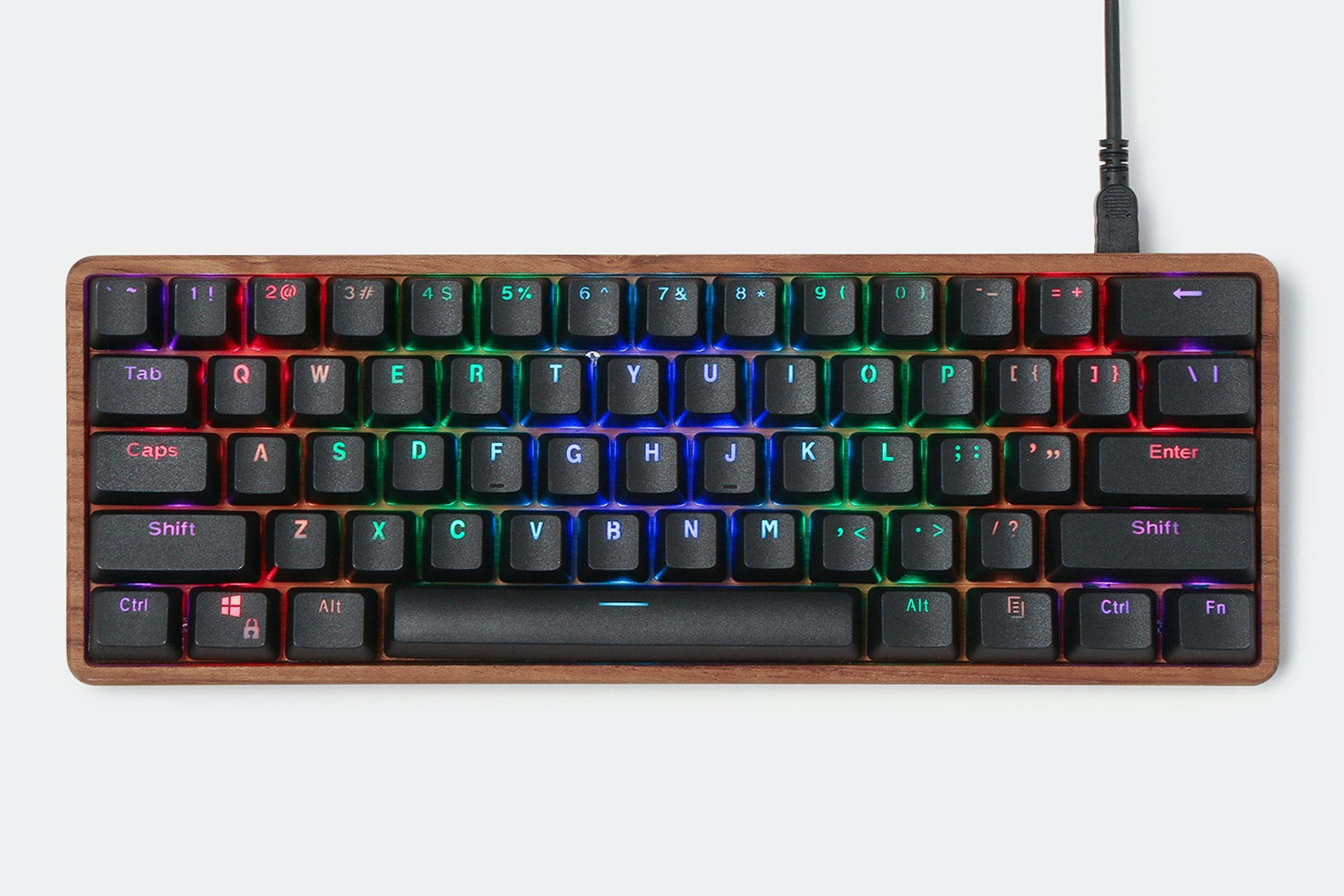 Teak Wood - 61 - Black Backlit keycaps - Wood