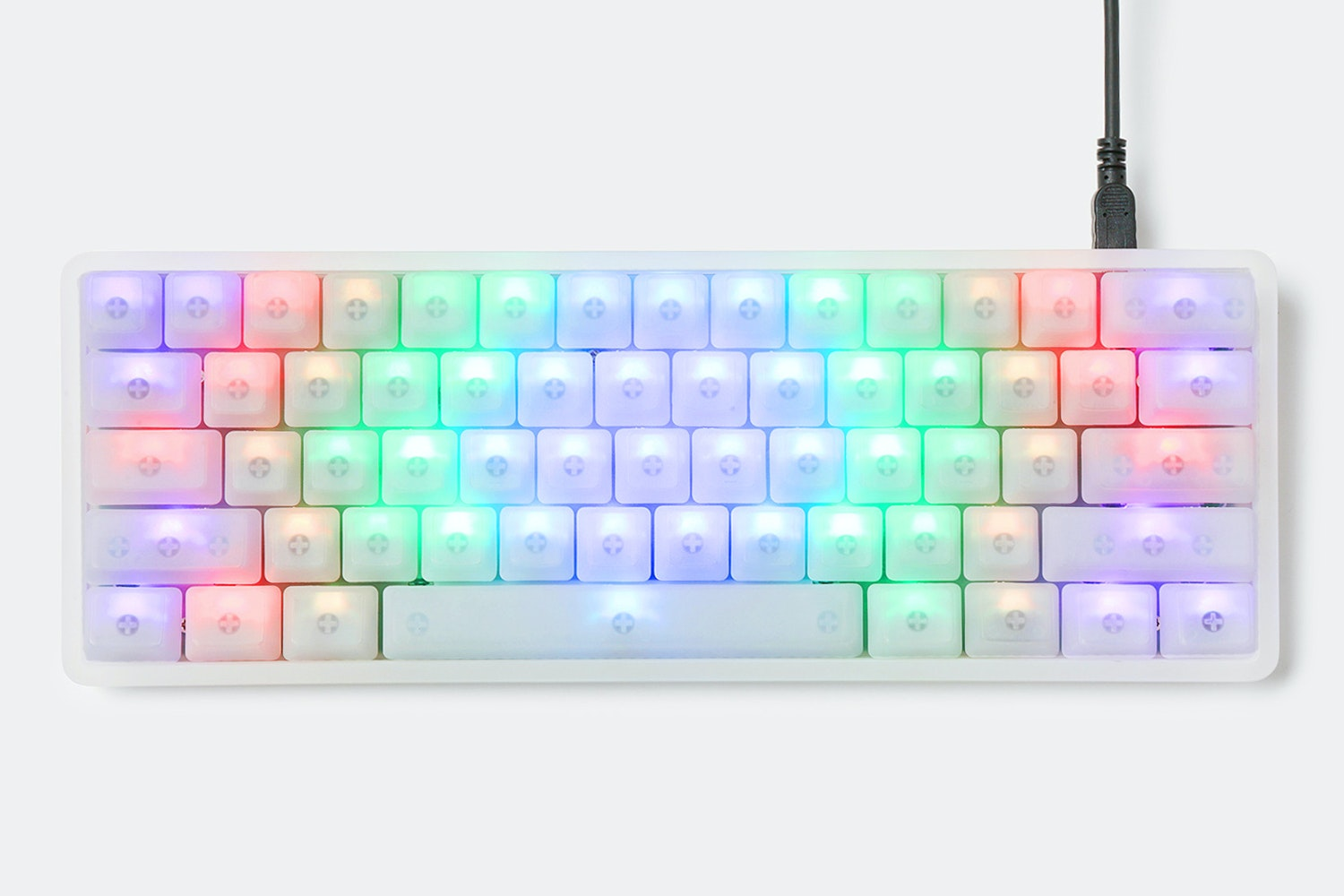 Acrylic - 61 - Blank Backlit keycaps - Frosted Clear Case
