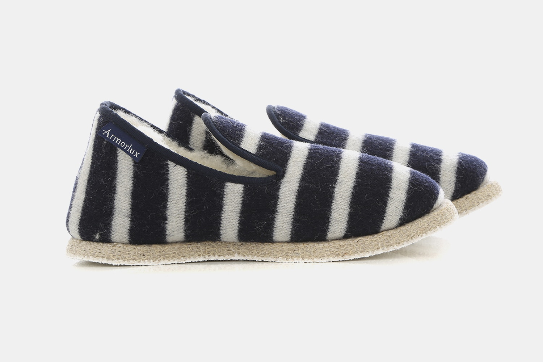 Breton Stripe Slippers - Navire/Nature