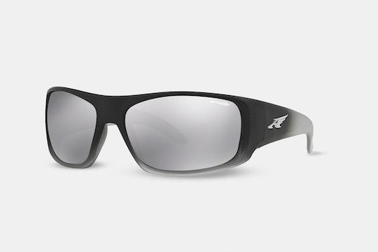 Fuzzy black & translucent gray, silver mirror lenses