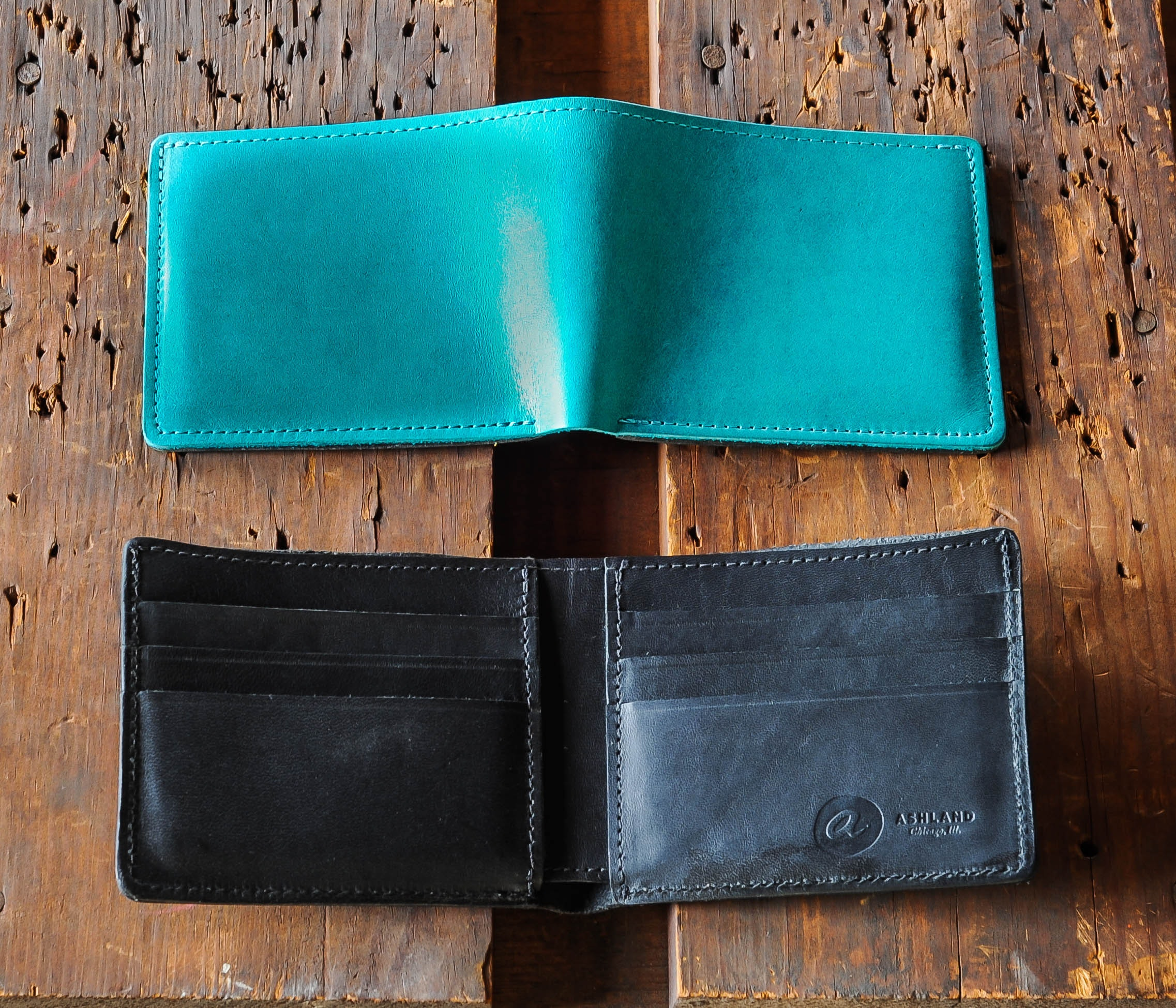 Ashland Leather 'Johnny The Fox' Teal/Black Bifold