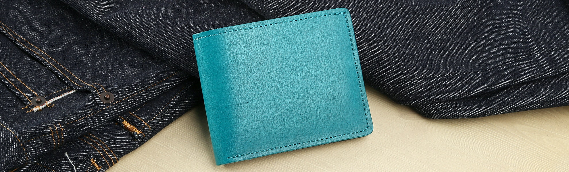 "Ashland Leather ""Johnny the Fox"" Teal/Black Bifold"