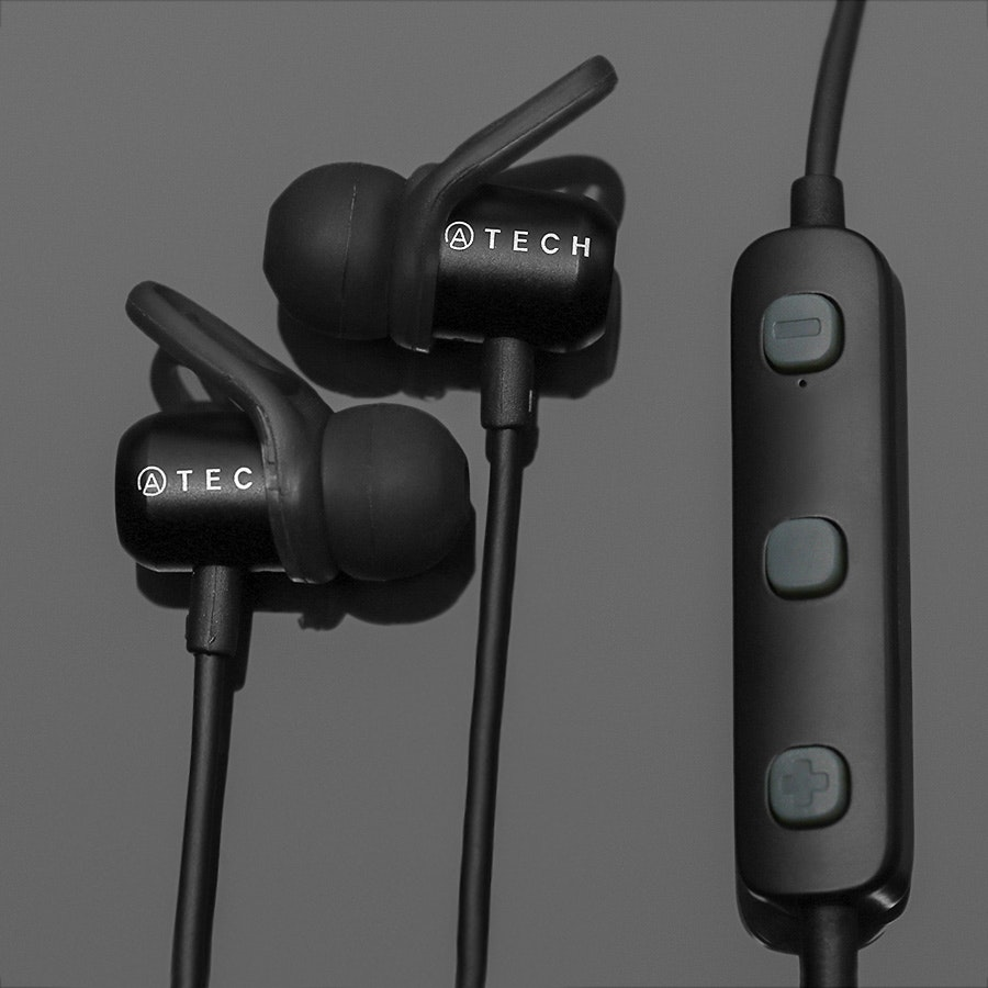Atech IPX4 Bluetooth Earbuds w/Magnet Clasp