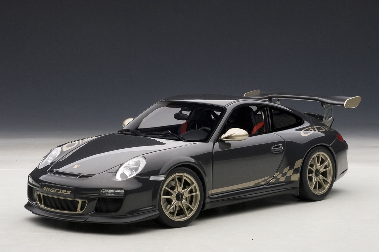 Porsche 911 (997) GT3 RS, Grey Black w/White Gold Metallic Stripes