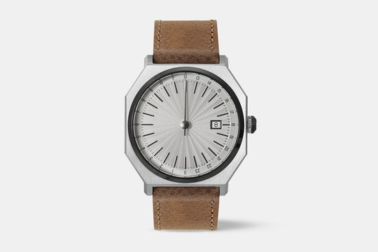 Slow 02 (Silver Dial, Brown Leather Strap)