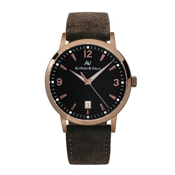 PVD Rose gold tone case on brown suede (+$25)