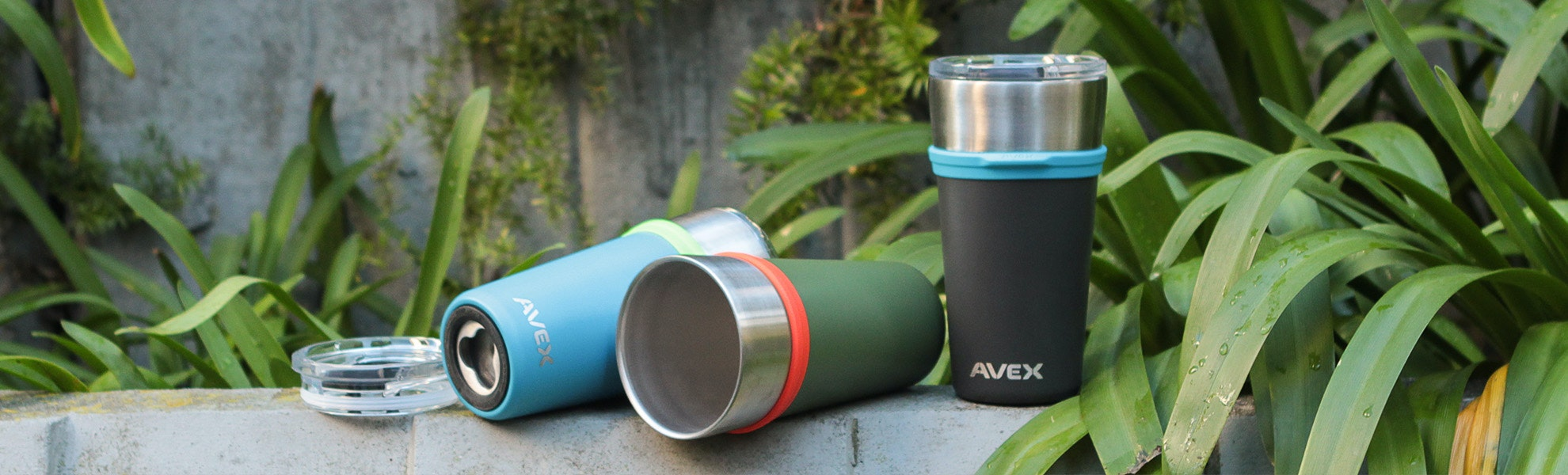 Avex Insulated Pint Glass with Lid (2-pack)