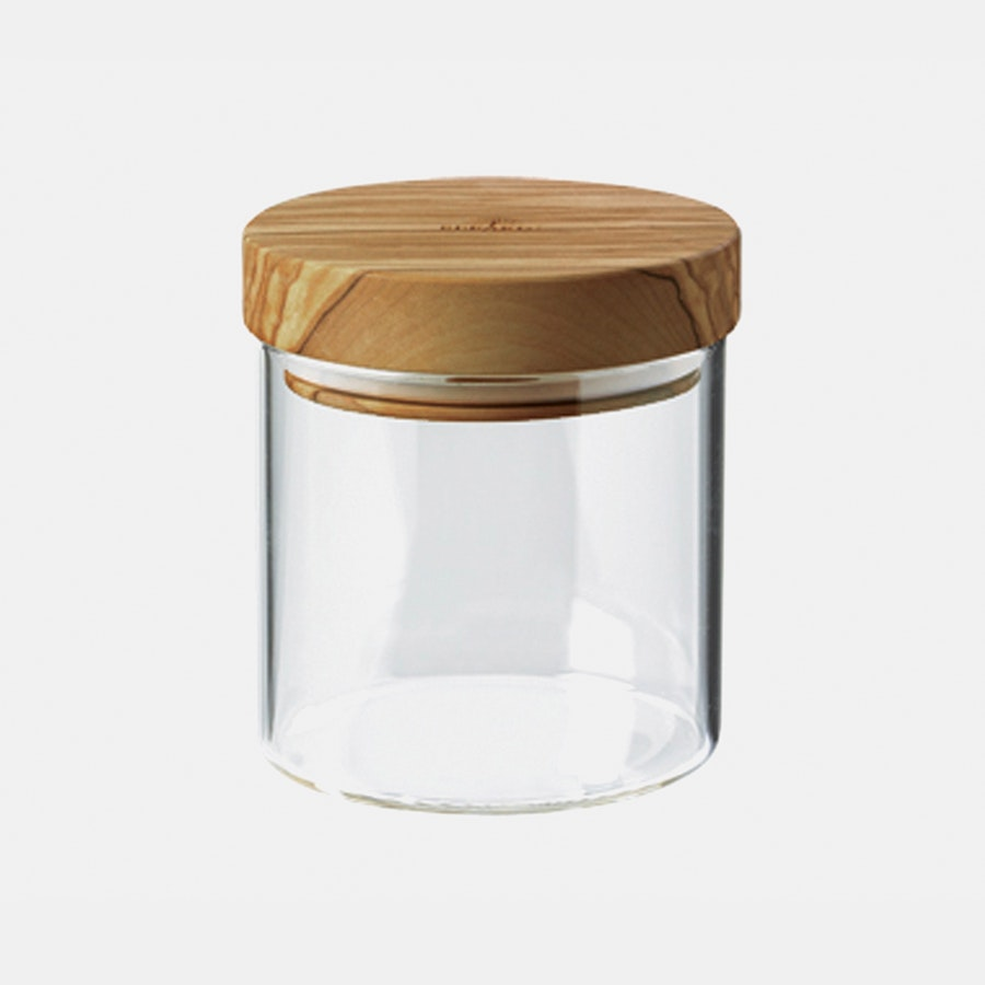 Berard Glass Storage Jars w/ Olivewood Lids
