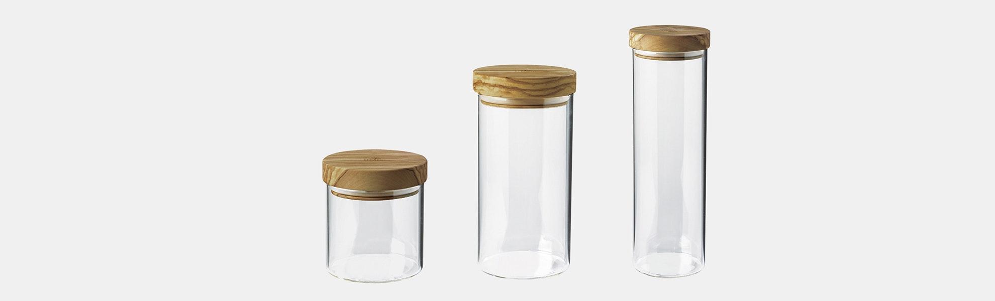Berard Glass Storage Jars w/ Olivewood Lids