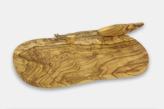 Berard Olive Wood Cheese Board & Knife Set