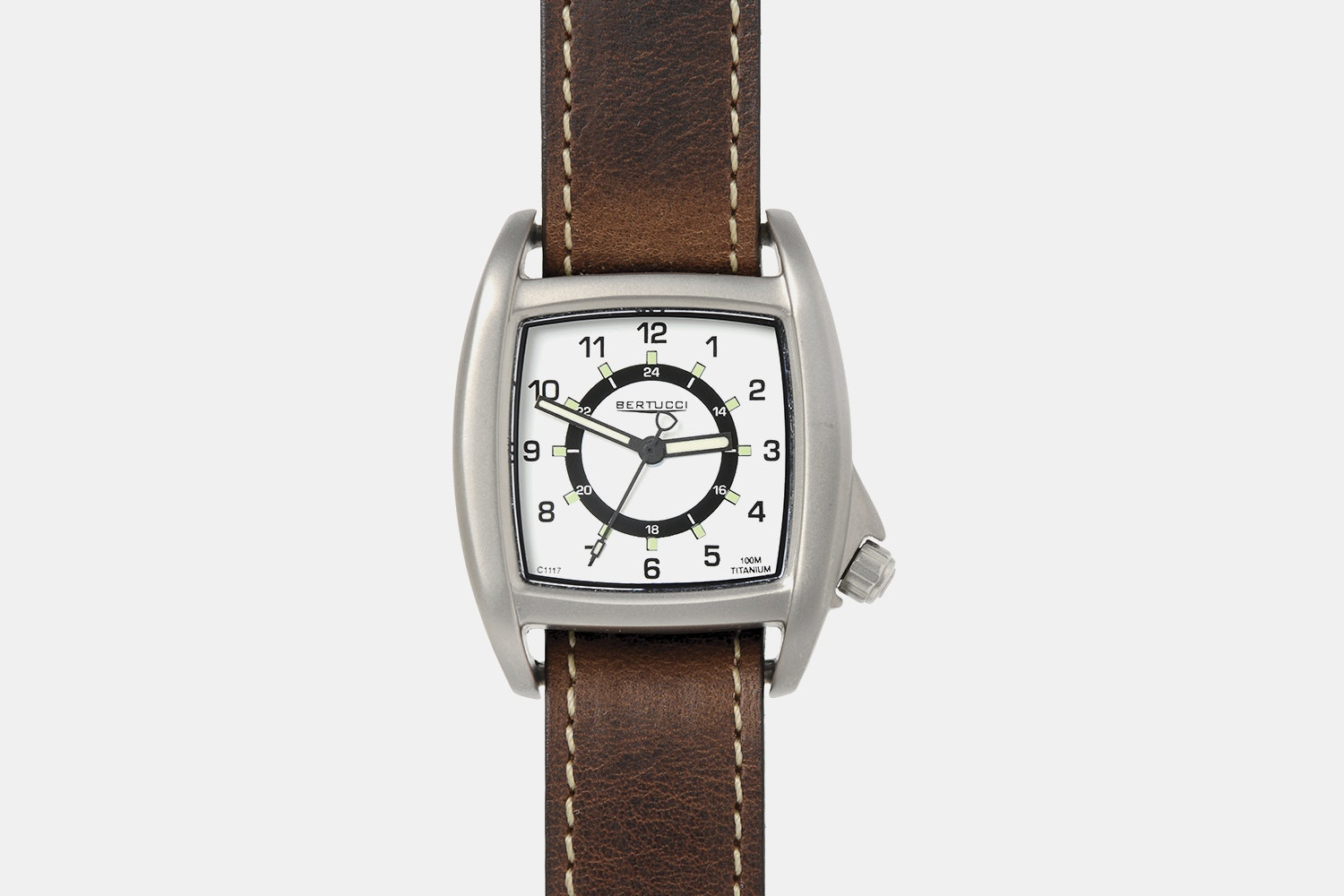 White Dial, Nut Brown Leather Band