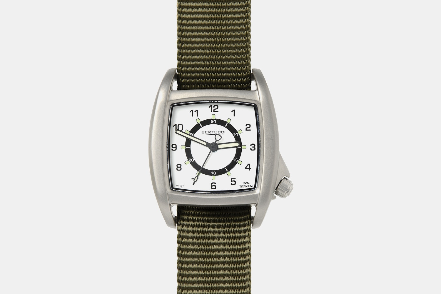 White Dial, Olive Band (- $25)