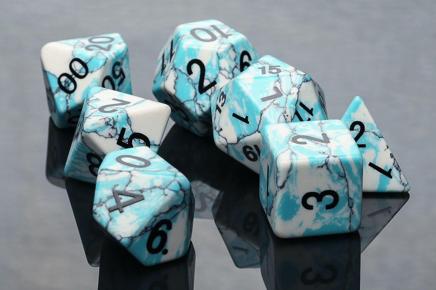 Blue Turquoise Stone Polyhedral Dice Set