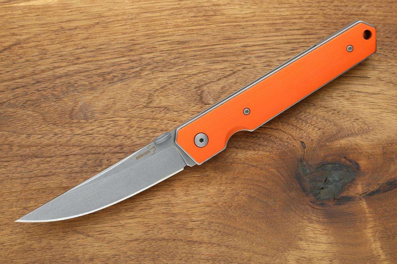 Orange G-10 Handle / Stonewashed AUS-8 Blade