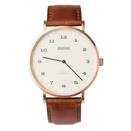 Bbrushed Rose Gold Case w/ Brown leather strap
