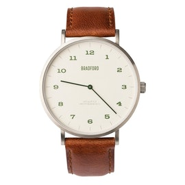 Brushed Steel Case w/ Brown Leather Strap