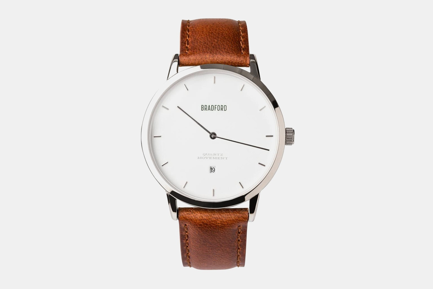 Stainless steel case, brown leather strap