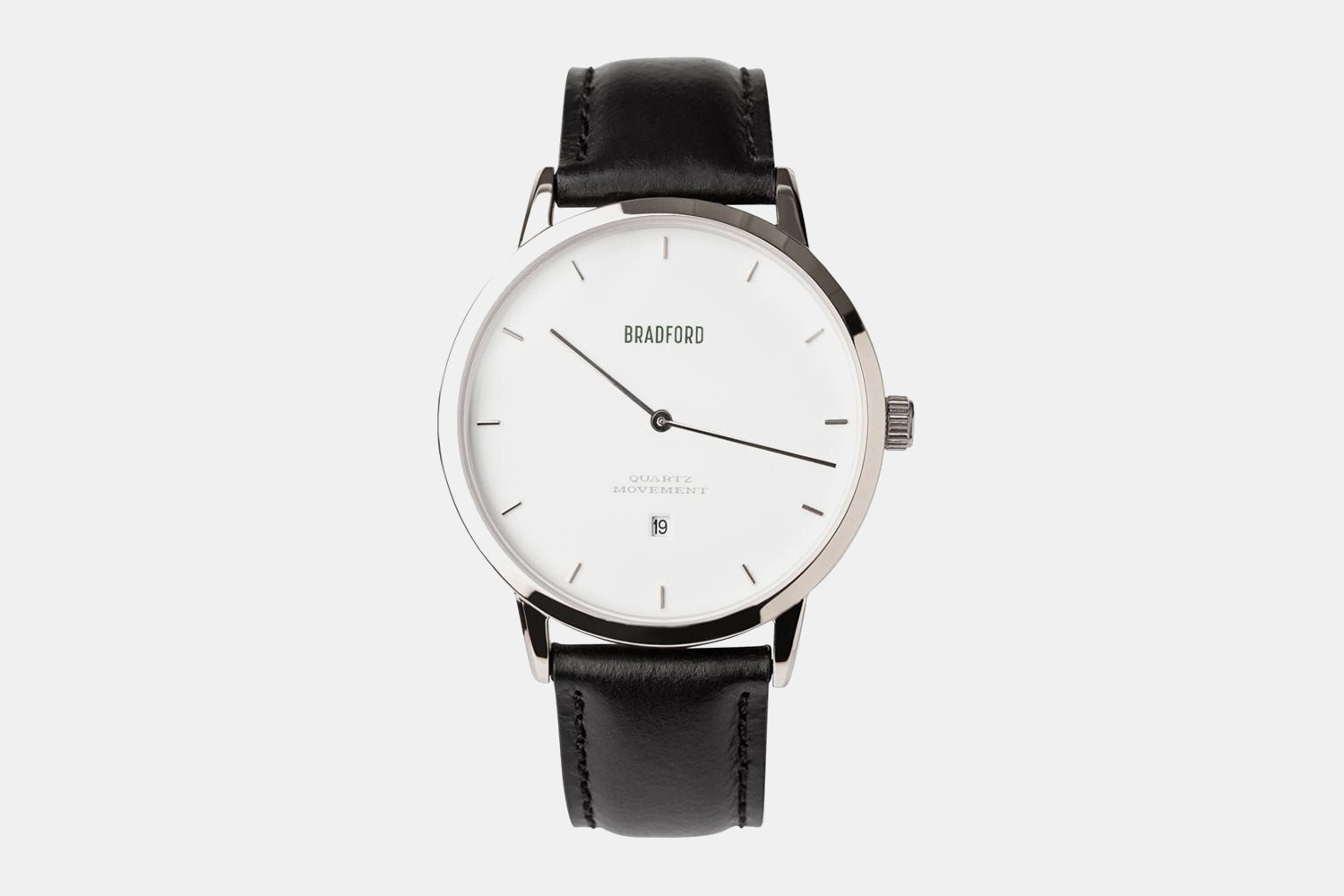 Stainless steel case, black leather strap