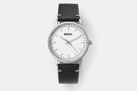 1697E (white dial, black leather strap)