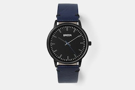 1697G (black case, black dial, blue leather strap)