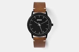 1697H (black case, black dial, brown leather strap)