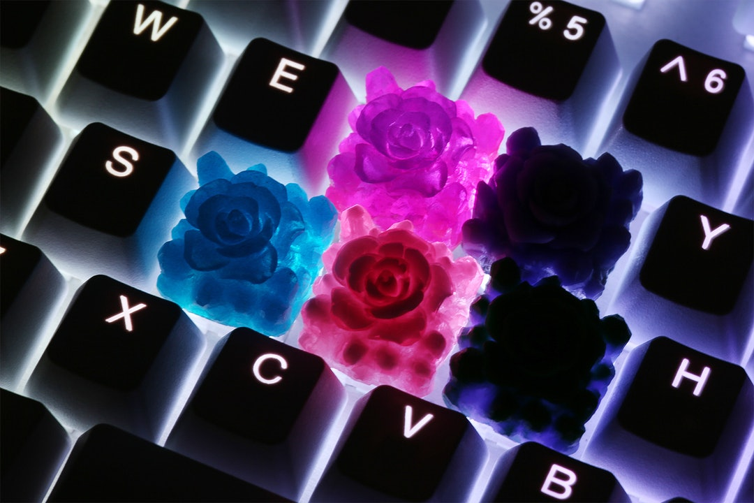 Bubble Keys Crystal Echeveria Resin Artisan Keycap