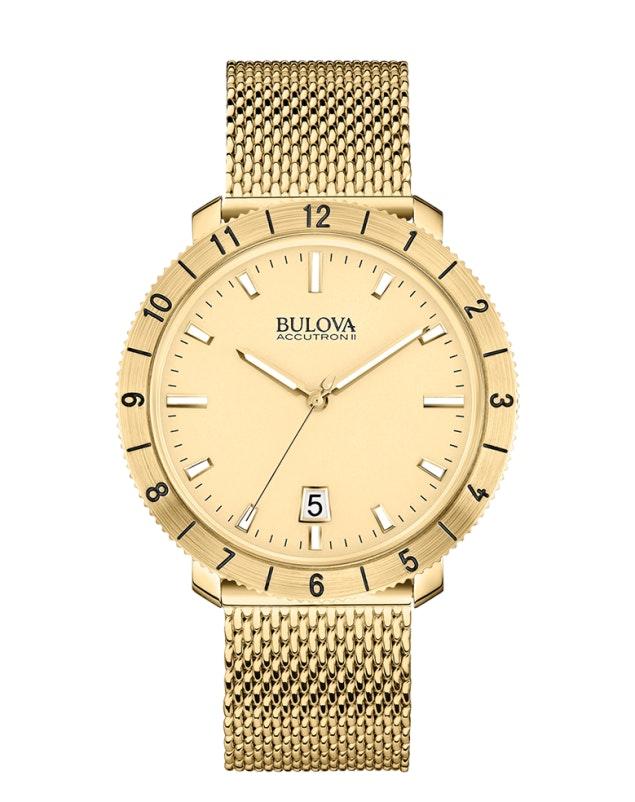 Gold dial, gold tone SS mesh 97B129 (+$54)