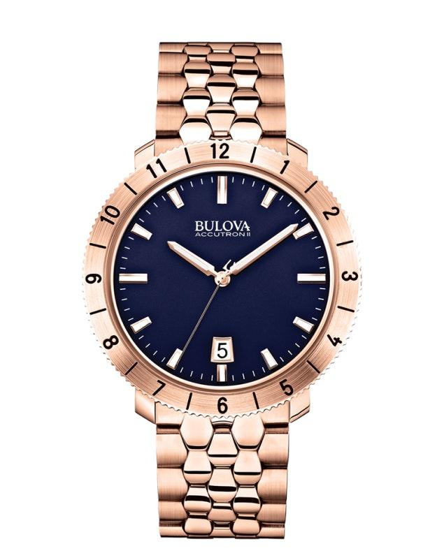 Blue dial, rose gold tone SS bracelet 97B130 (+$89)