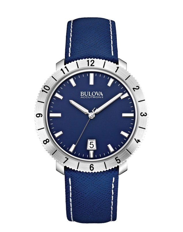 Blue dial, blue leather strap 96B204