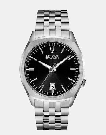 Black dial, stainless steel bracelet 96B214 (+$39)
