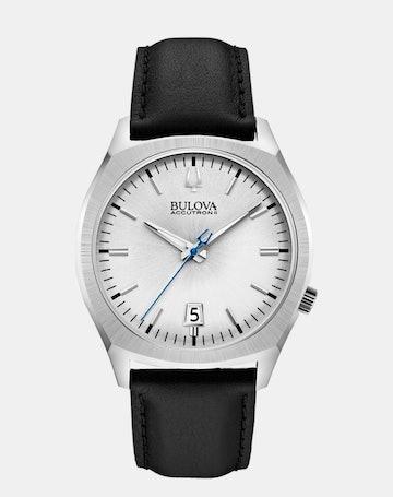 White dial, black leather 96B213