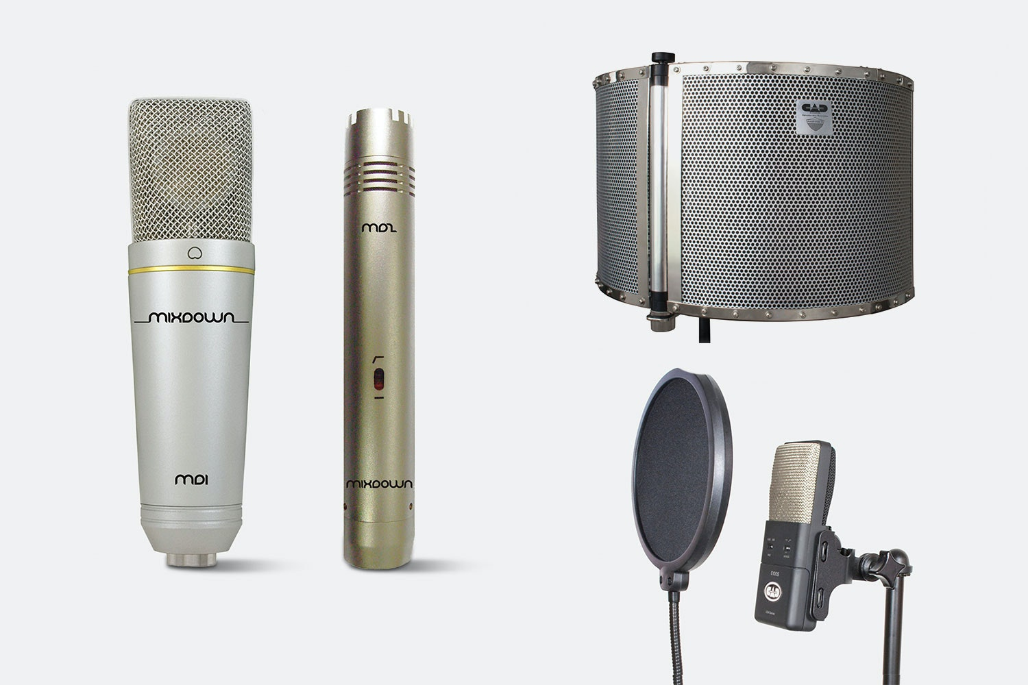 Studio 2, CAD AS32Flex (Acoustishield) and CAD VP1 Pop filter (+ $100)