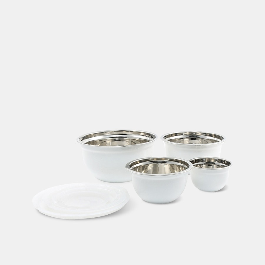 Cambridge Silversmiths White Mixing Bowls w/ Lids